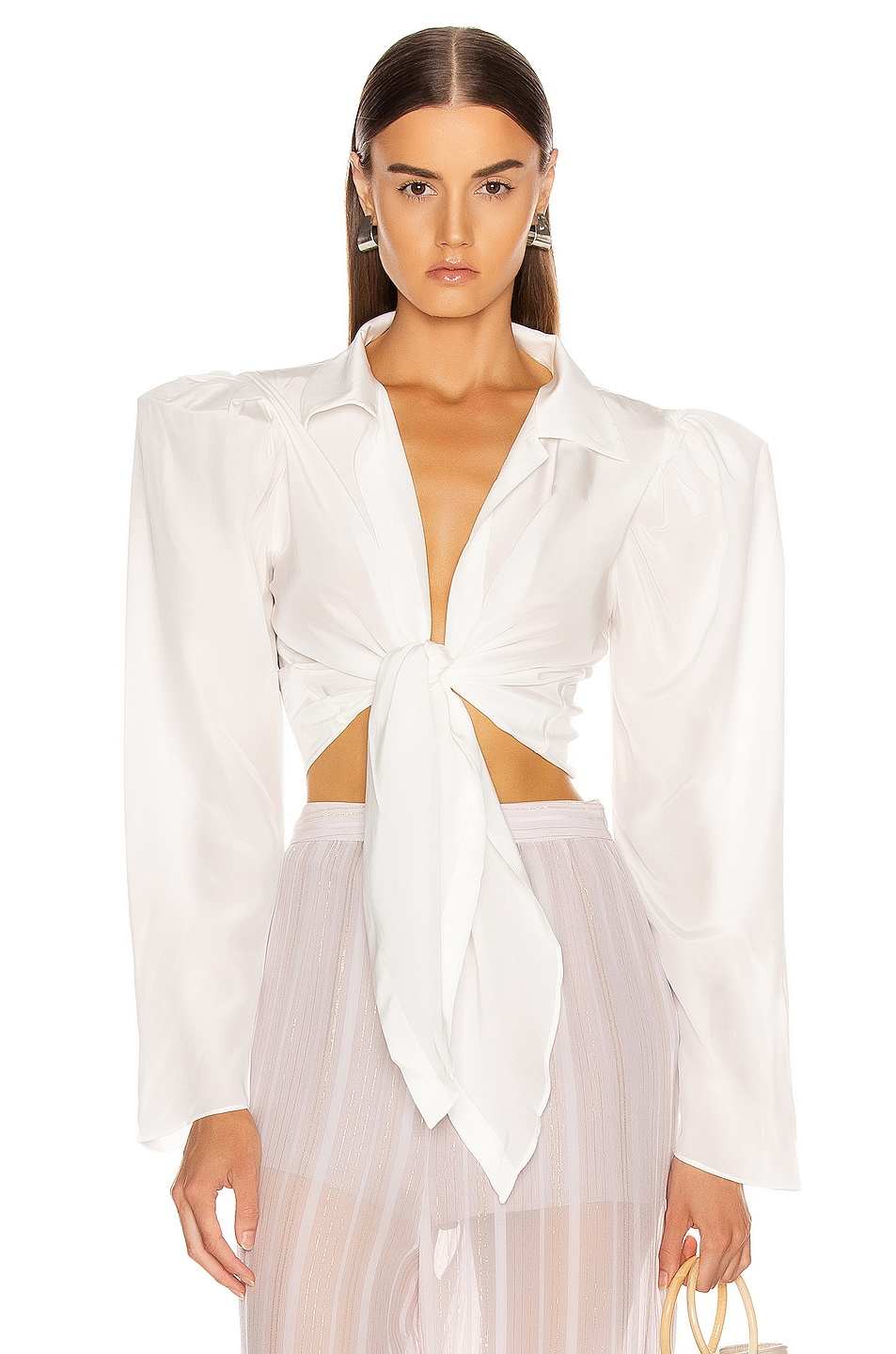 Image 1 of ADRIANA DEGREAS Tied Voluminous Sleeve Top in Off White
