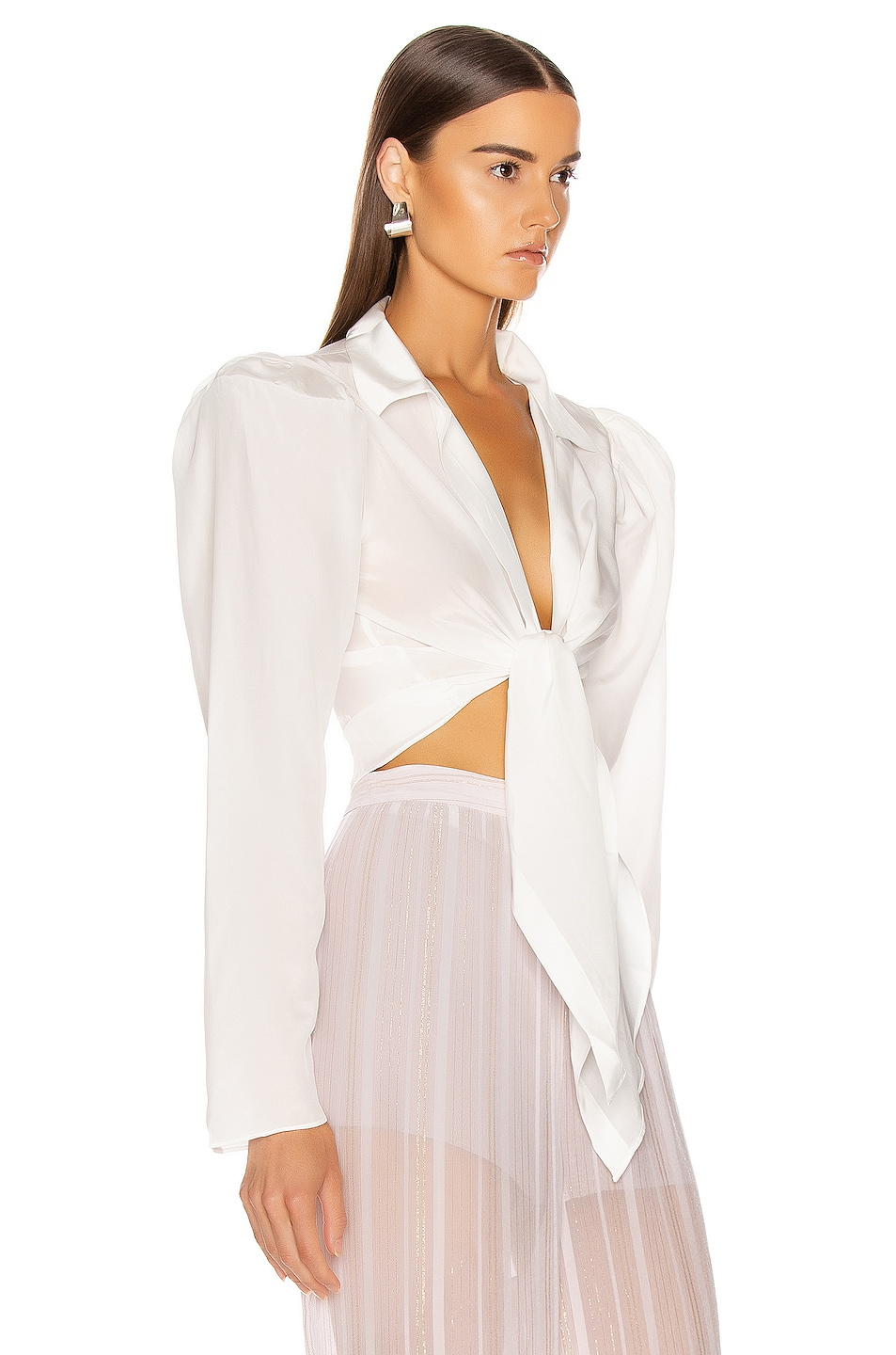 Image 2 of ADRIANA DEGREAS Tied Voluminous Sleeve Top in Off White