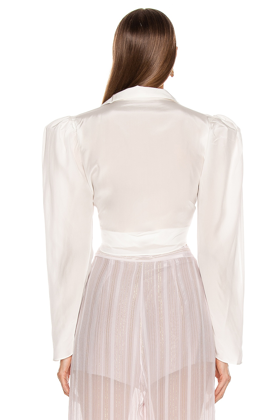 Image 3 of ADRIANA DEGREAS Tied Voluminous Sleeve Top in Off White