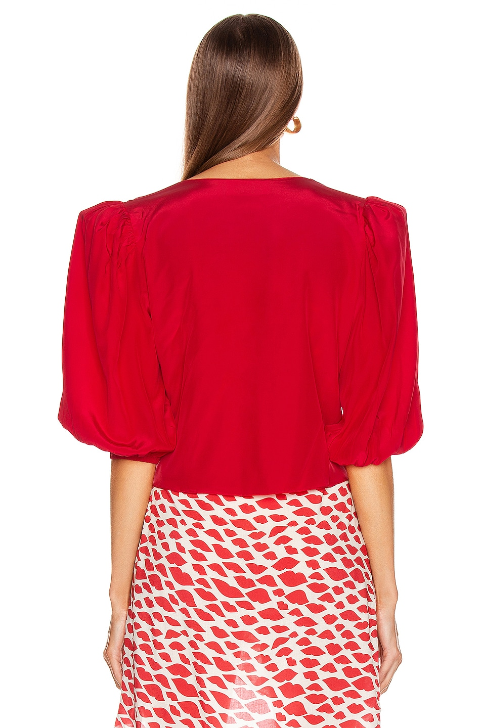Image 3 of ADRIANA DEGREAS Tied Bacio Shirt in Red