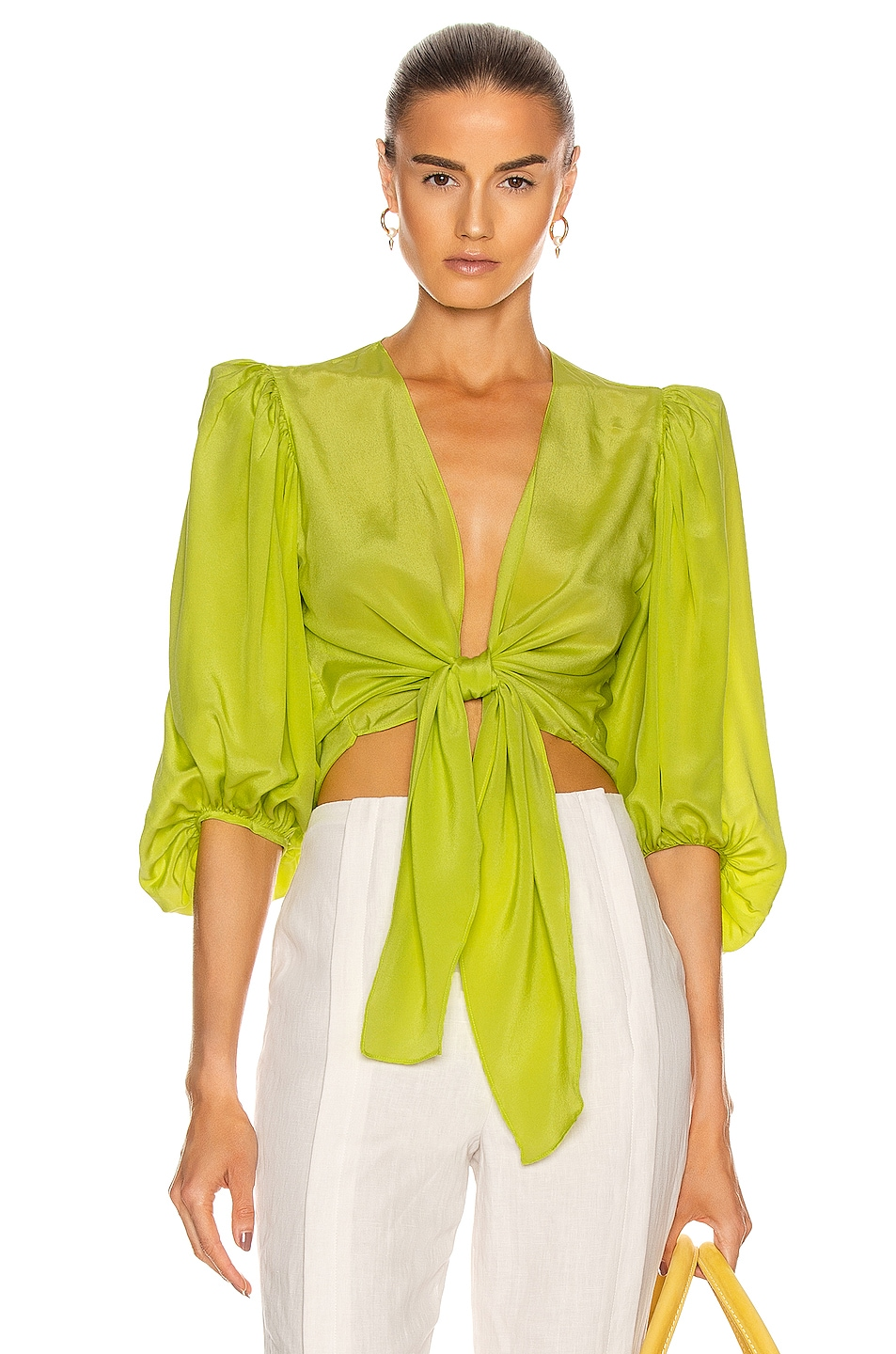 Image 1 of ADRIANA DEGREAS Solid Shirt With Voluminous Sleeves in Yellow