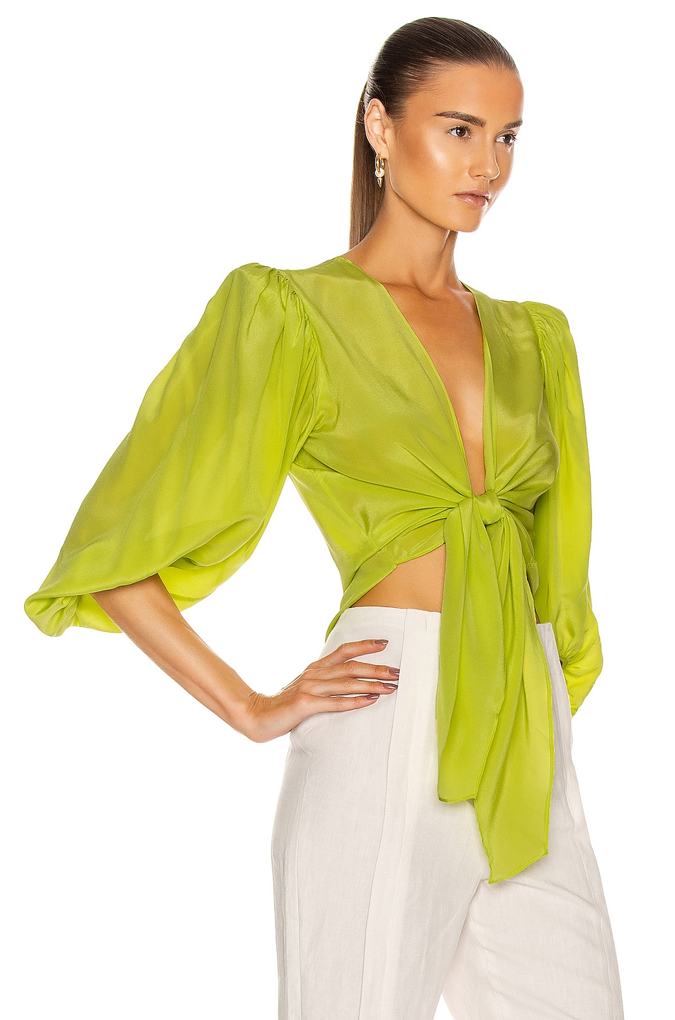 Image 2 of ADRIANA DEGREAS Solid Shirt With Voluminous Sleeves in Yellow