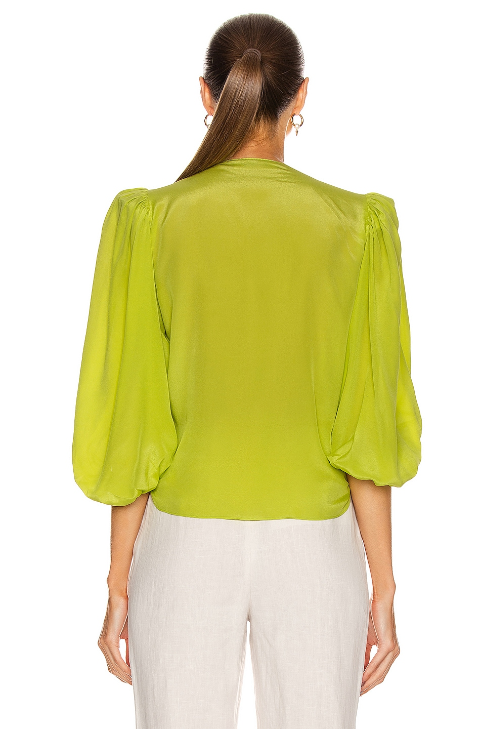 Image 3 of ADRIANA DEGREAS Solid Shirt With Voluminous Sleeves in Yellow