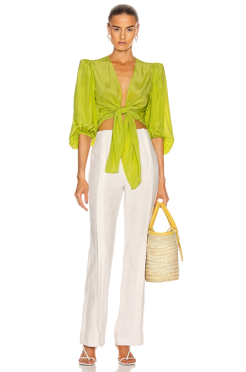 Image 4 of ADRIANA DEGREAS Solid Shirt With Voluminous Sleeves in Yellow