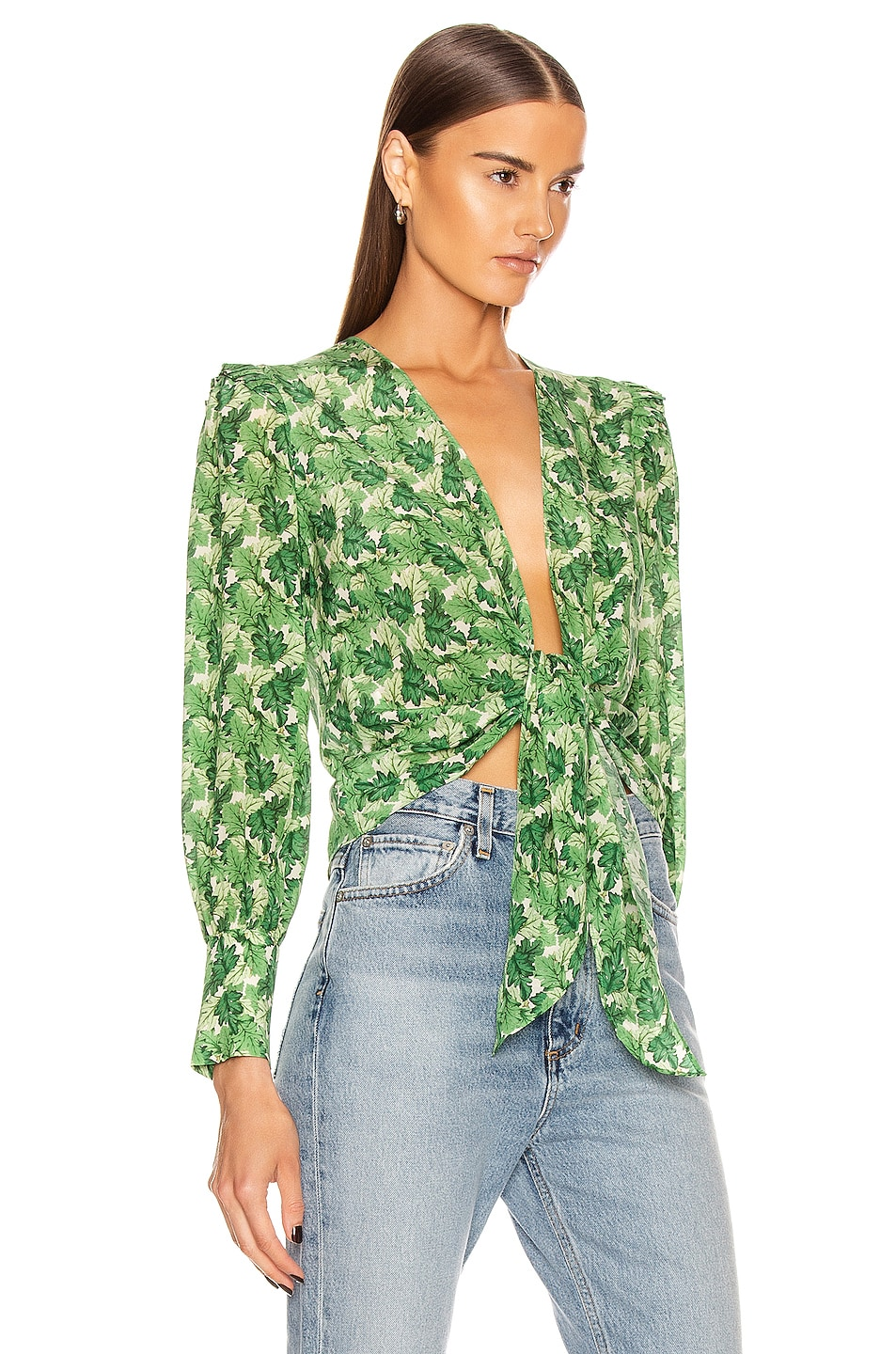 Image 2 of ADRIANA DEGREAS Dahlia Shirt With Voluminous Sleeves in Green