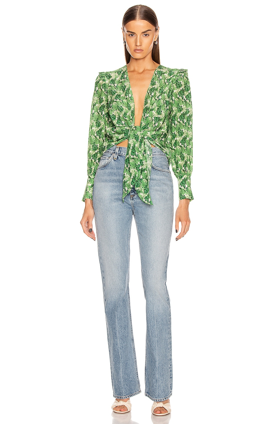 Image 4 of ADRIANA DEGREAS Dahlia Shirt With Voluminous Sleeves in Green