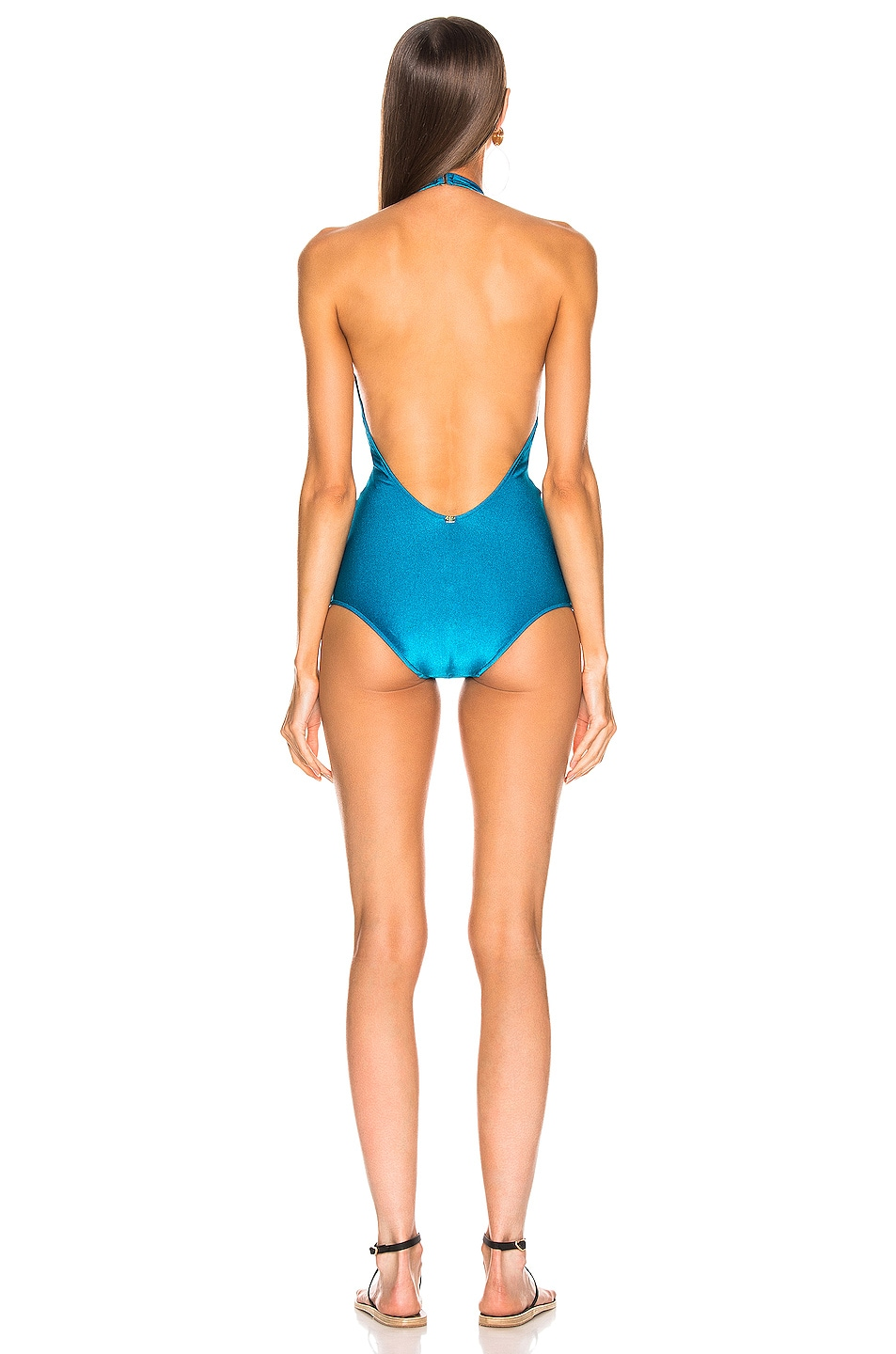 Image 3 of ADRIANA DEGREAS Solid Halterneck Swimsuit in Blue