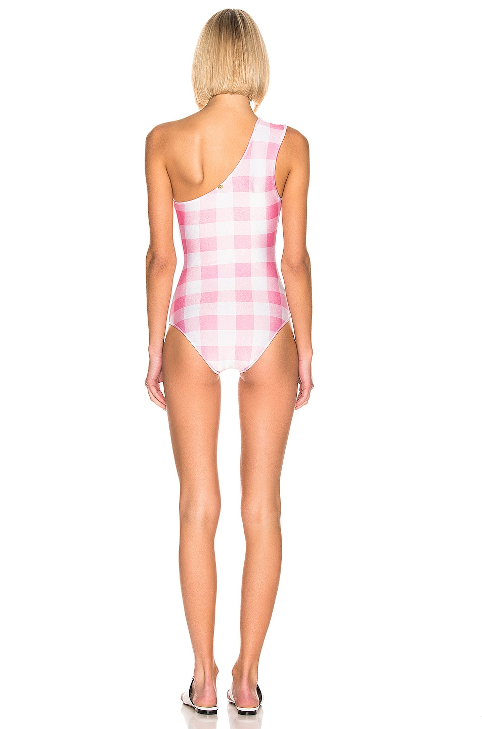 Image 3 of ADRIANA DEGREAS Vichy One-Shoulder Swimsuit With Hoop in Pink & White