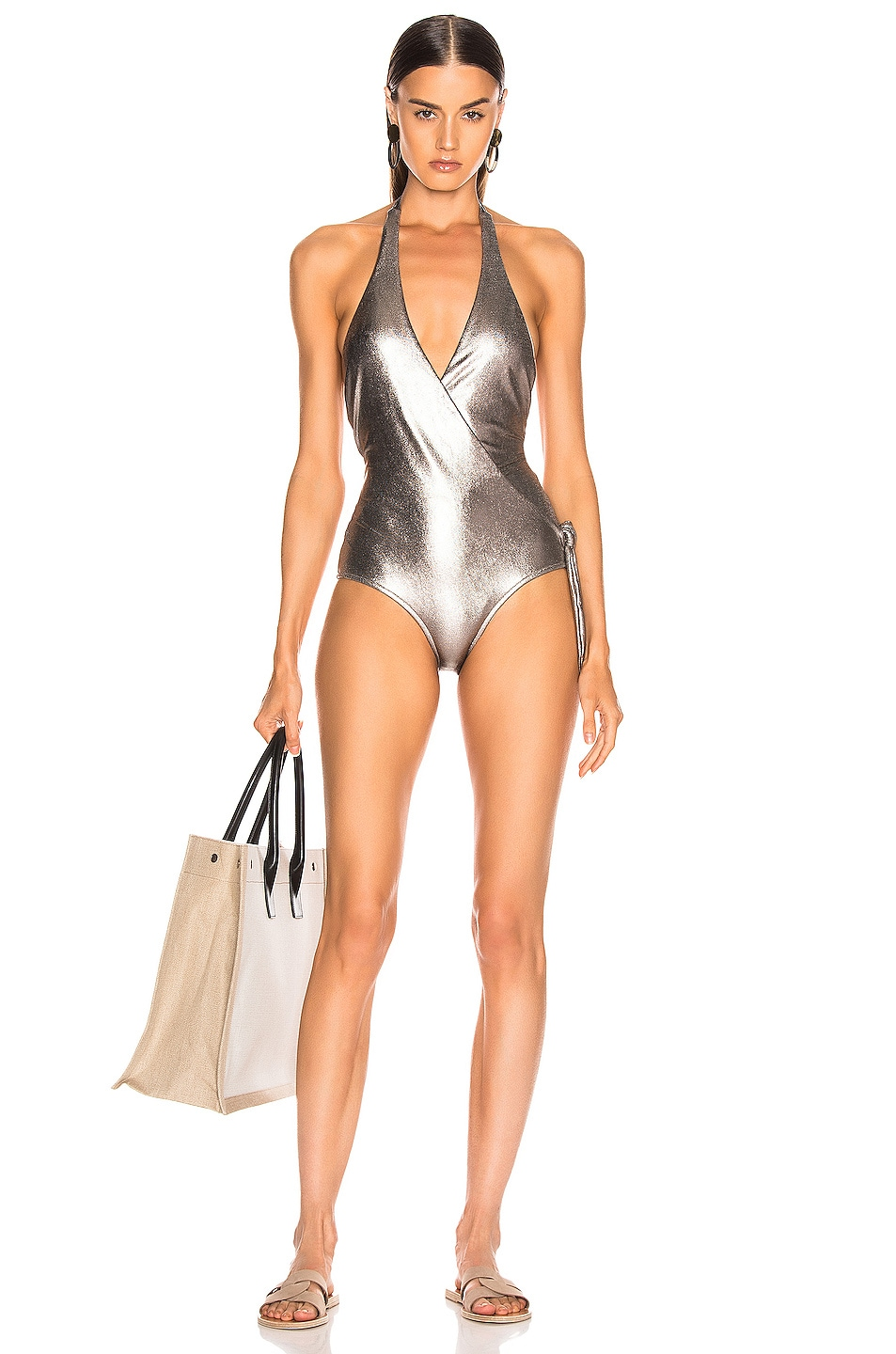 Image 1 of ADRIANA DEGREAS Cross Front Halterneck Swimsuit in Silver
