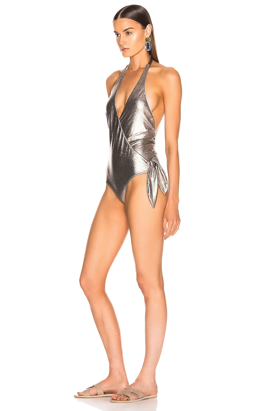 Image 3 of ADRIANA DEGREAS Cross Front Halterneck Swimsuit in Silver