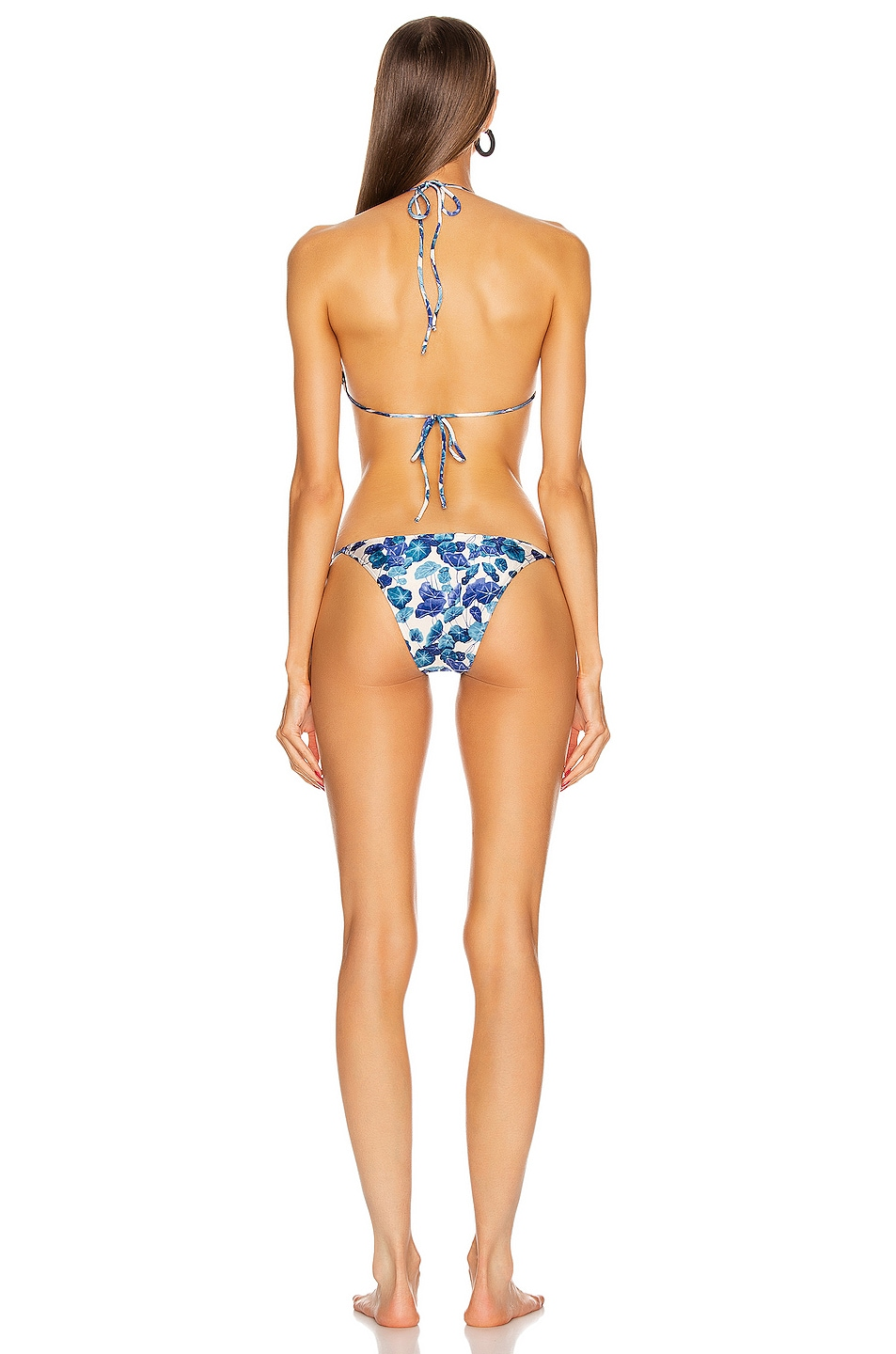 Image 3 of ADRIANA DEGREAS Turquoise Flower Triangle Bikini With Side Ties in Blue