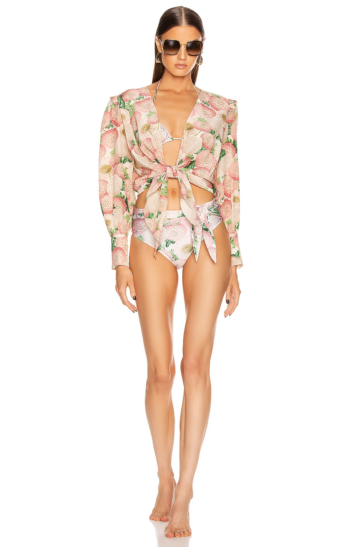 Image 4 of ADRIANA DEGREAS Dahlia High Leg Bikini With Knot in Off White