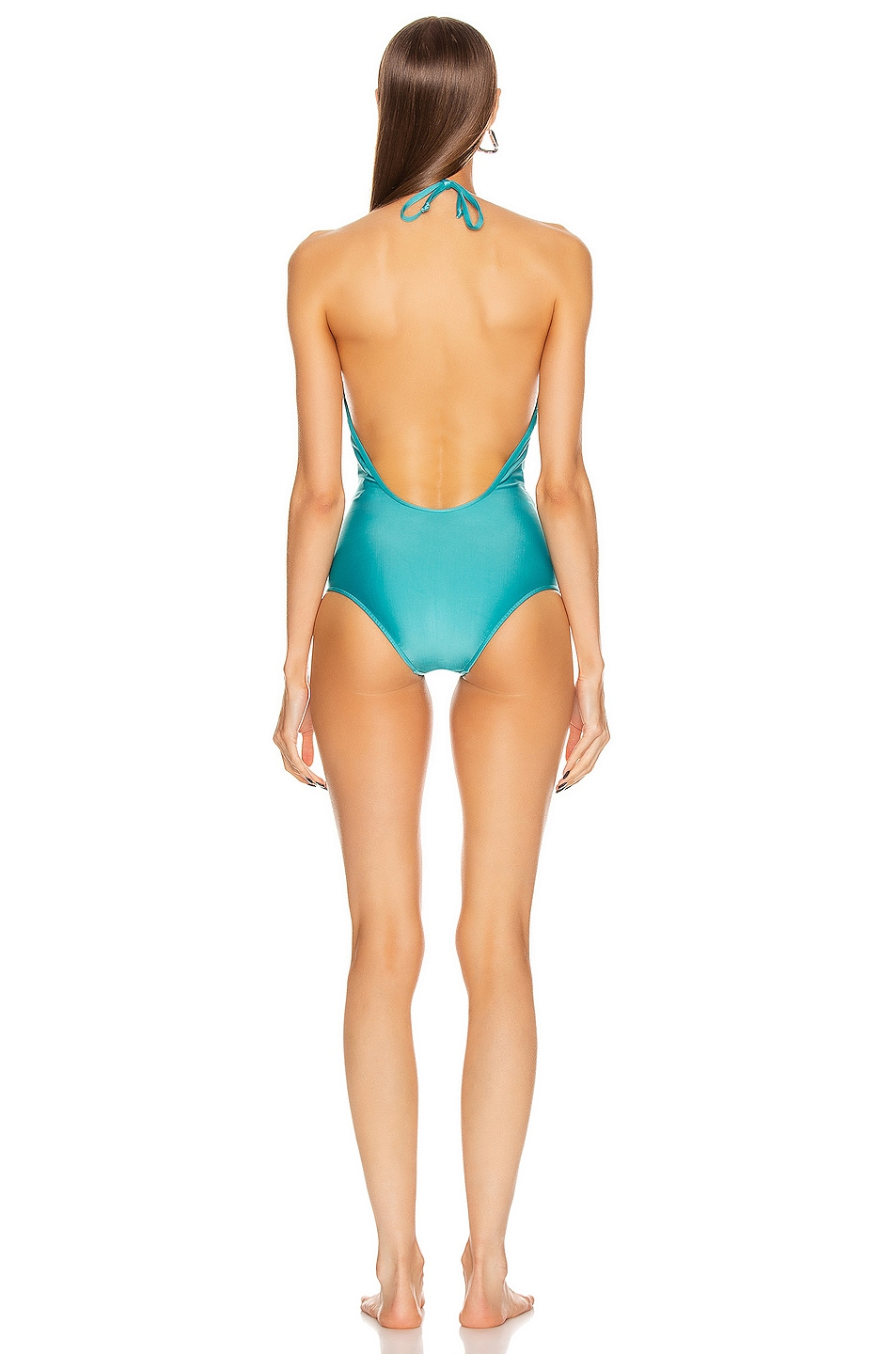 Image 3 of ADRIANA DEGREAS Solid Halter neck Swimsuit in Blue