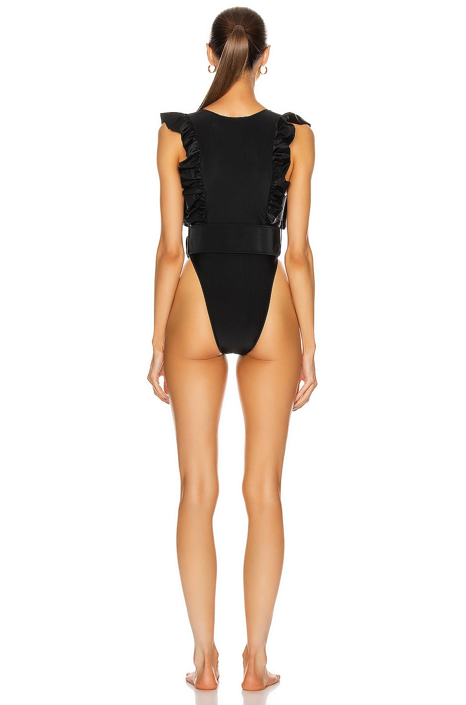 Image 3 of ADRIANA DEGREAS Solid Ruffled Swimsuit With Belt in Black