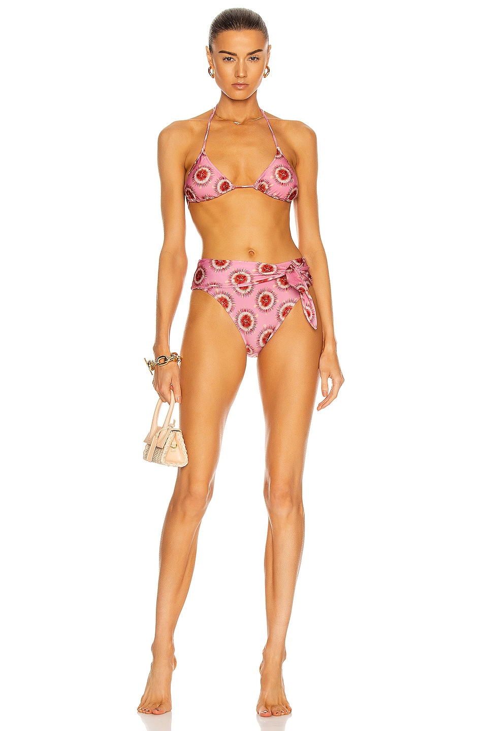 Image 1 of ADRIANA DEGREAS Exotic Passion High Leg Bikini With Knot in Pink & Red