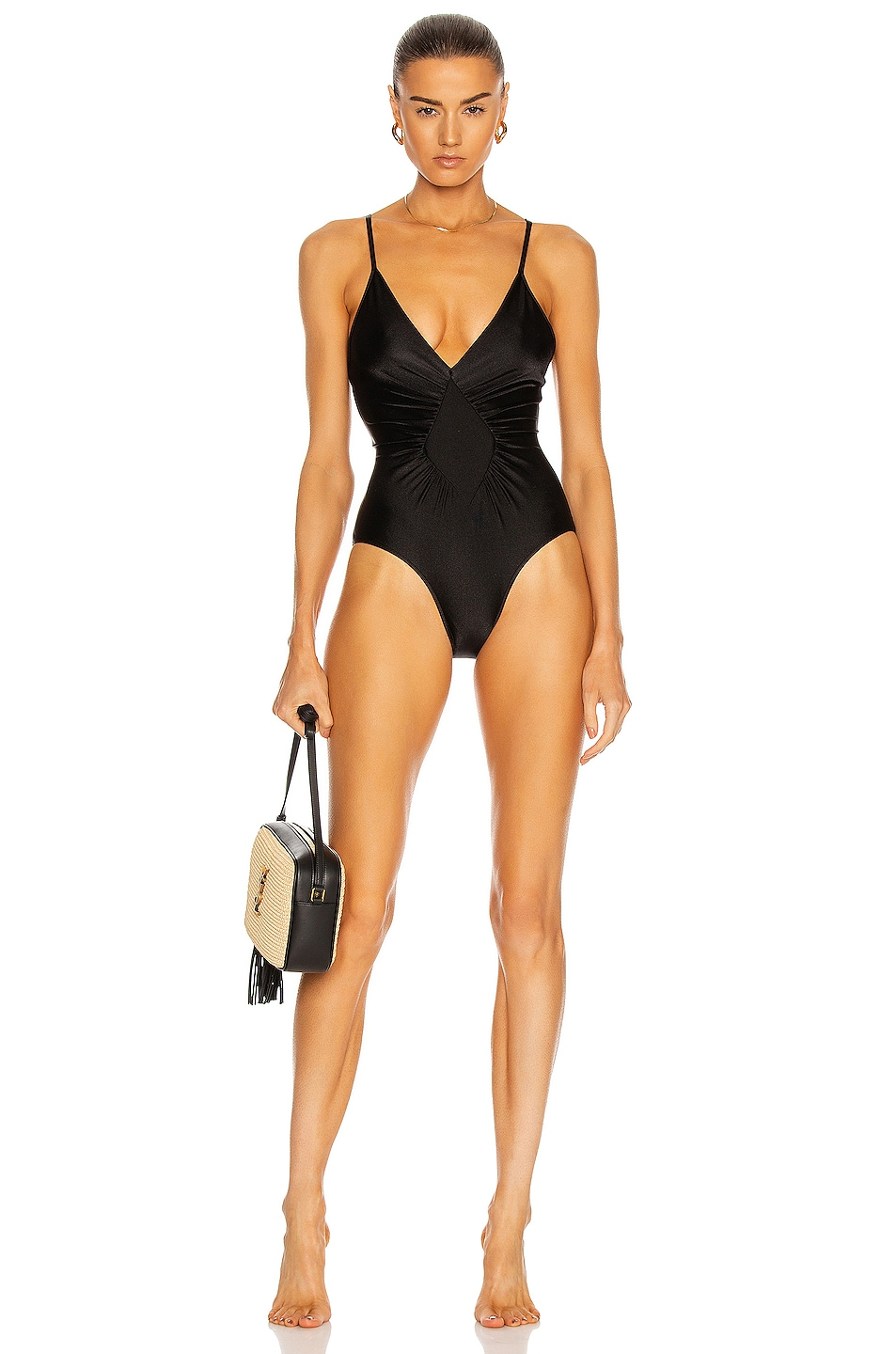 Image 1 of ADRIANA DEGREAS Solid Halterneck Frilled Swimsuit in Black