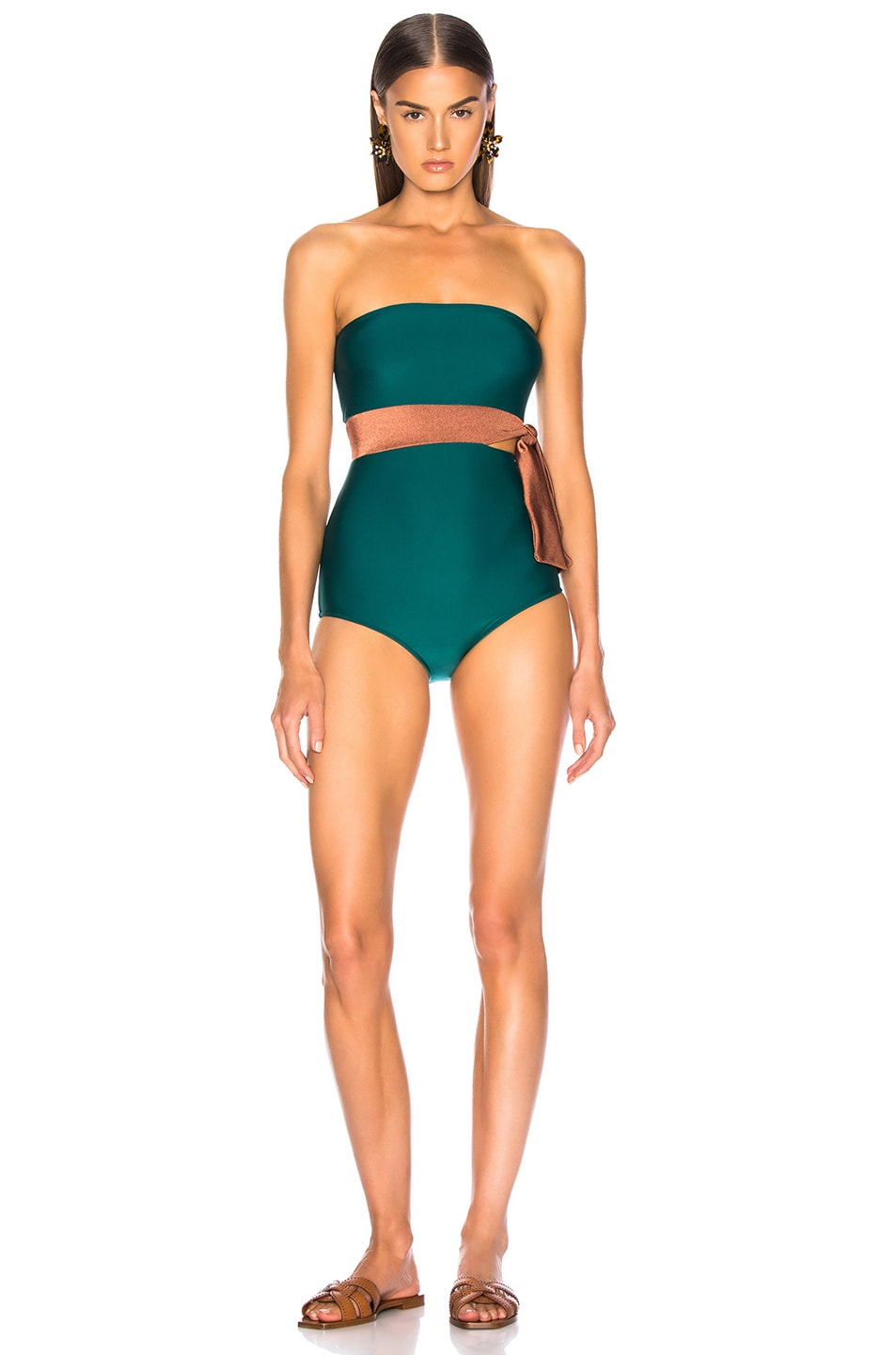 Image 1 of ADRIANA DEGREAS Cinque Terre Strapless Bikini With Knot Detail in Green & Bronze