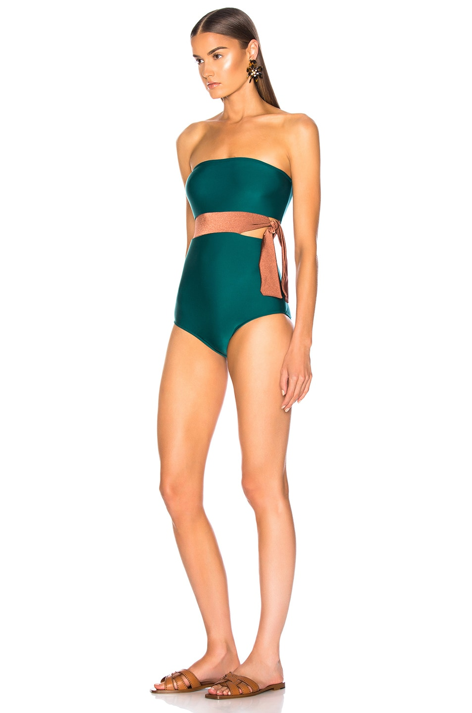Image 3 of ADRIANA DEGREAS Cinque Terre Strapless Bikini With Knot Detail in Green & Bronze