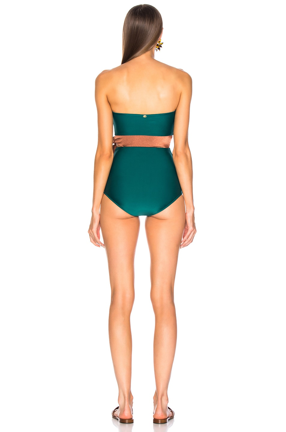 Image 4 of ADRIANA DEGREAS Cinque Terre Strapless Bikini With Knot Detail in Green & Bronze