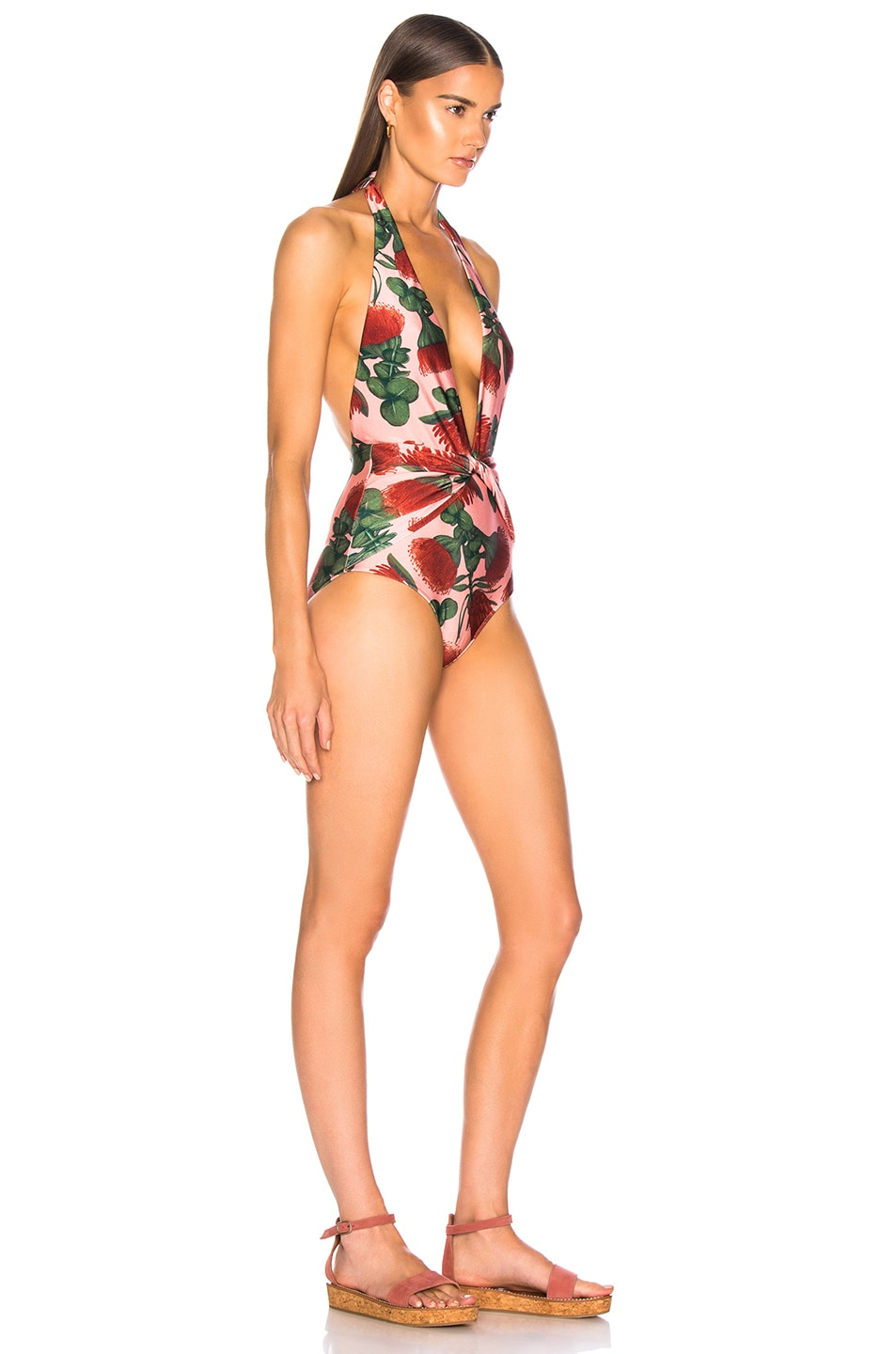ADRIANA DEGREAS Fiore Twisted Halterneck Swimsuit Rose new