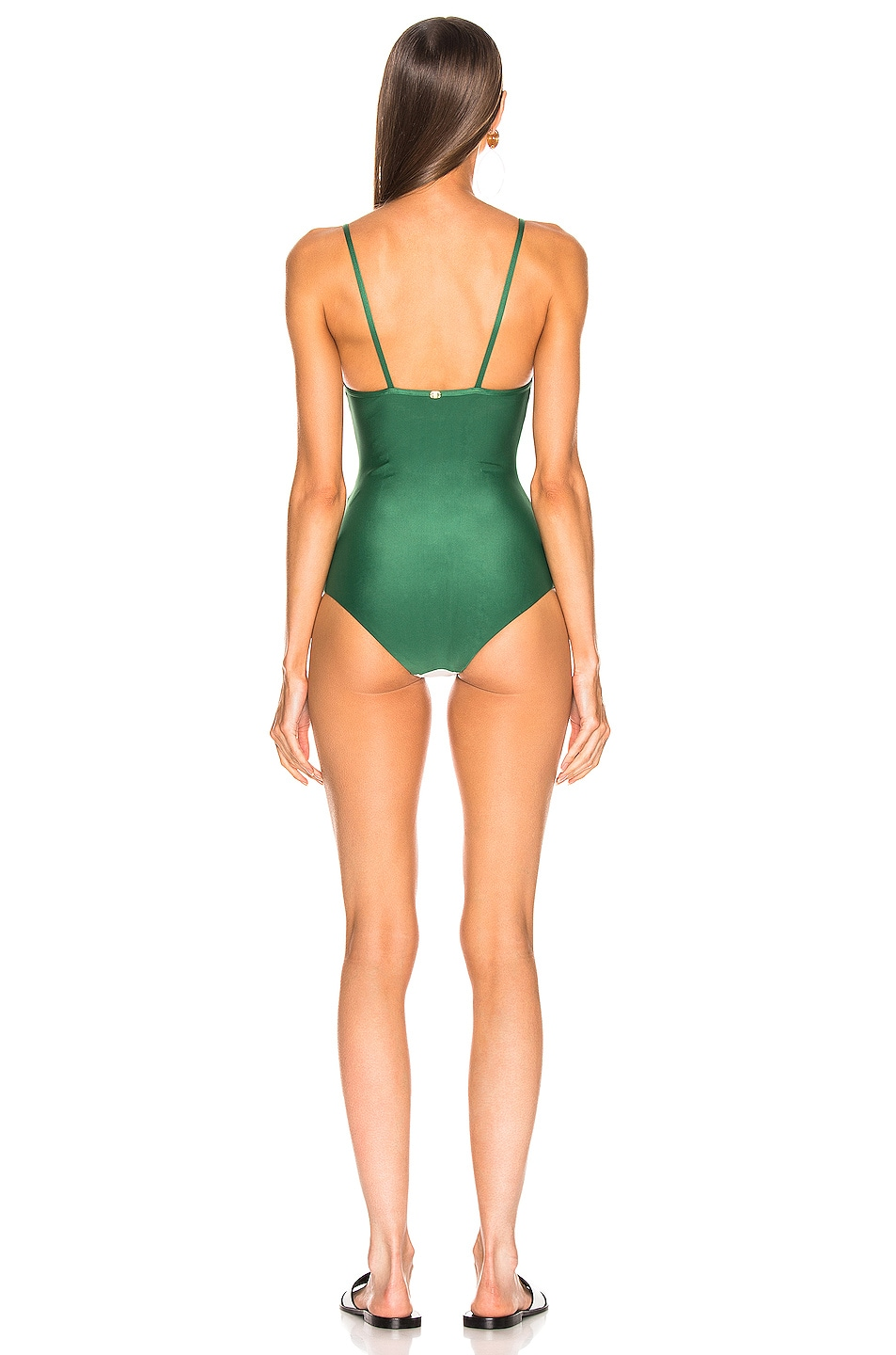 Image 3 of ADRIANA DEGREAS Italy Tricolor Swimsuit in Green, Off White & Red