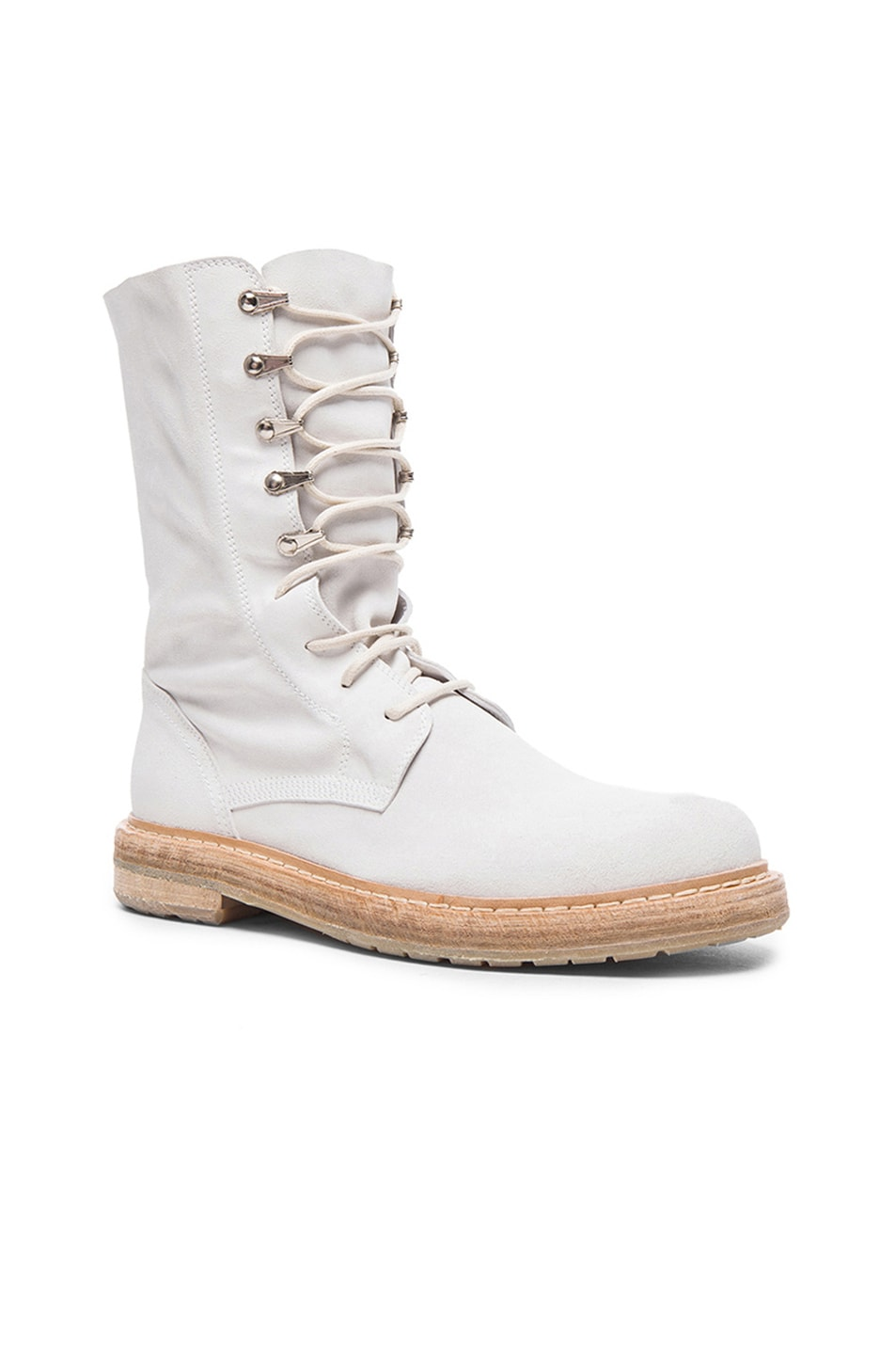 Image 1 of AD Ann Demeulemeester Suede Lace Up Combat Boots in White