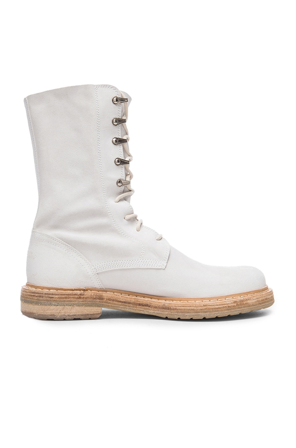 Image 2 of AD Ann Demeulemeester Suede Lace Up Combat Boots in White