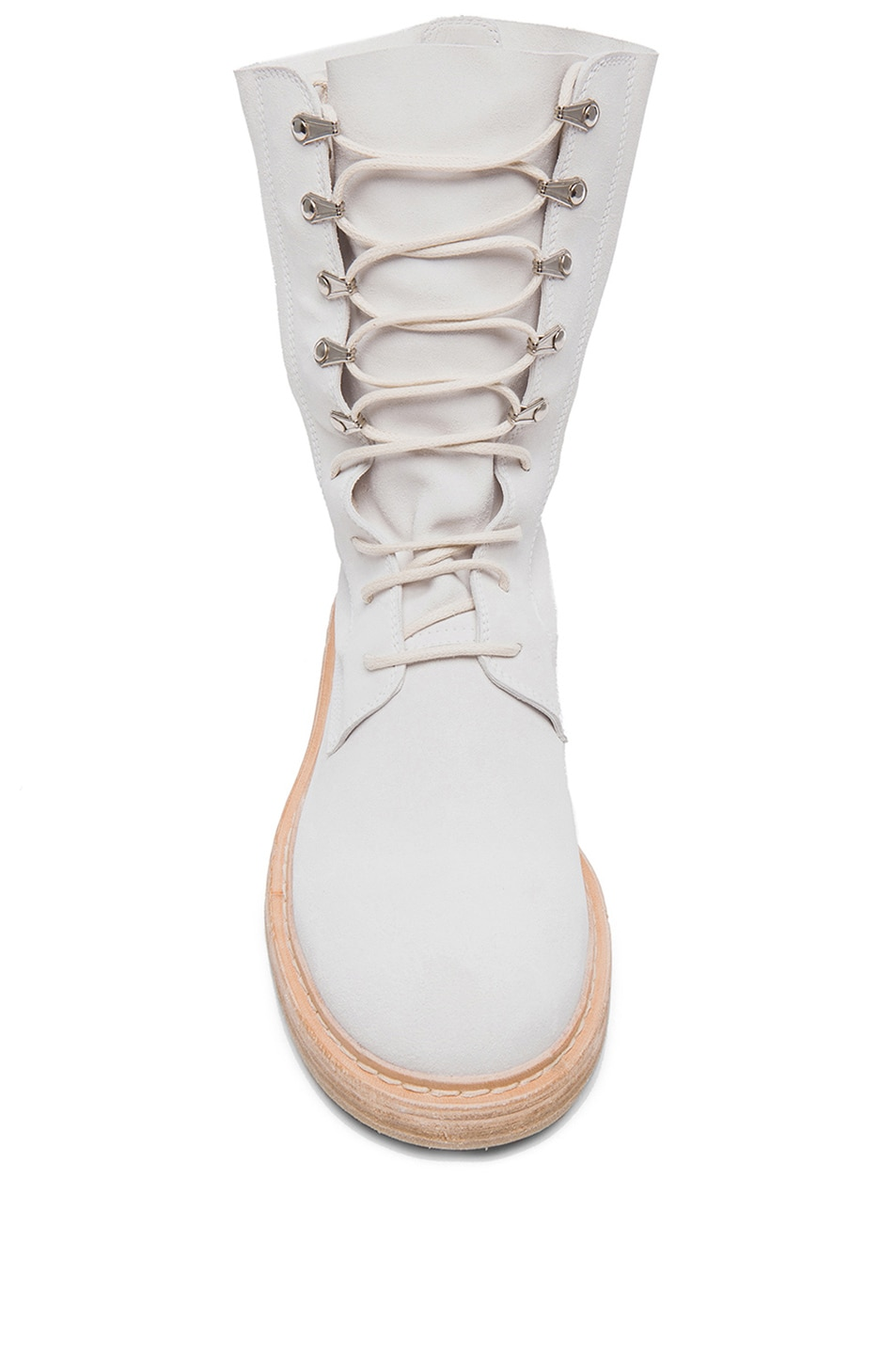 Image 4 of AD Ann Demeulemeester Suede Lace Up Combat Boots in White