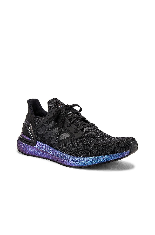 Image 1 of adidas Originals Ultraboost 20 in Core Black & Core Black & Boost Blue Violet Met