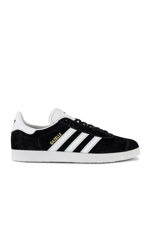 Image 1 of adidas Originals Gazelle Foundation Sneaker in Black & White & Gold Metallic