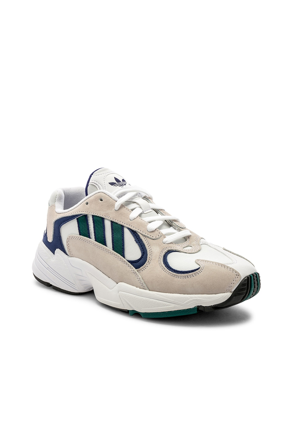 Image 2 of adidas Originals Yung-1 in White & Noble Green & Dark Blue
