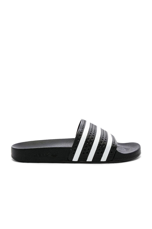 Image 1 of adidas Originals Adilette in Black & White & Black