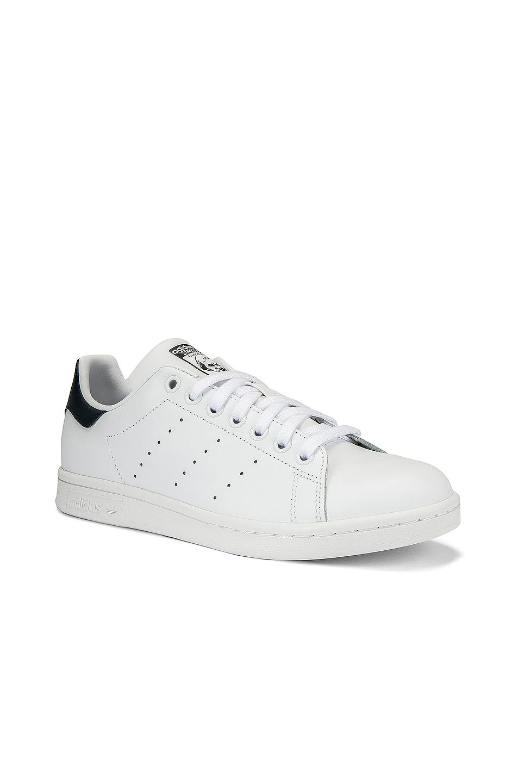 Image 2 of adidas Originals Stan Smith in White & Dark Blue