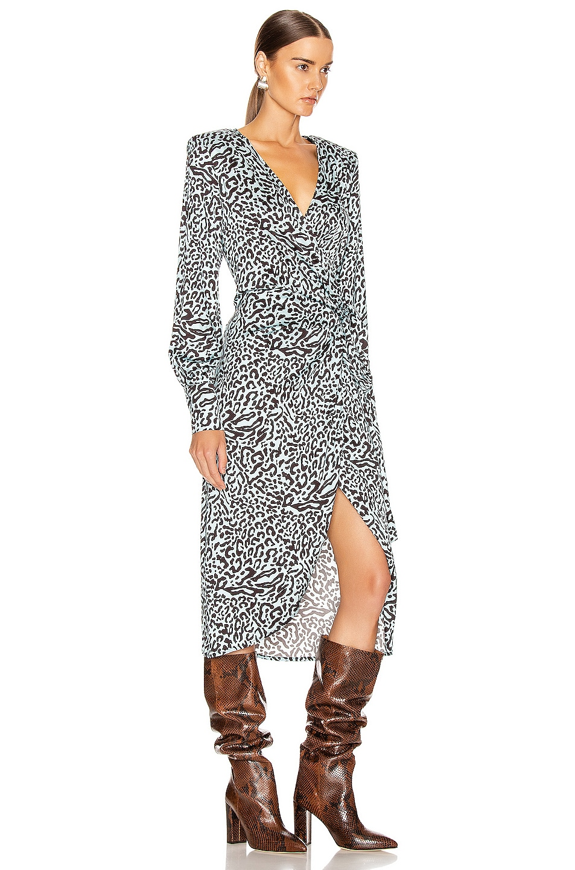 Image 2 of ANDAMANE Carly Wrap Midi Dress in Leo Light Blue