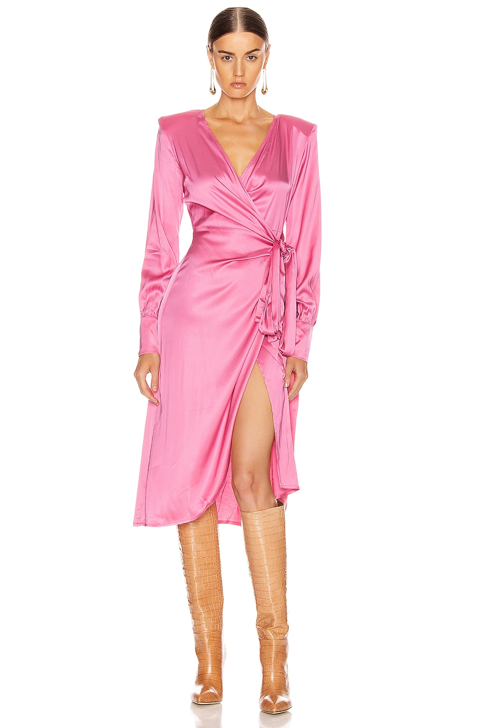 Image 1 of ANDAMANE Carly Wrap Midi Dress in Bubble Pink
