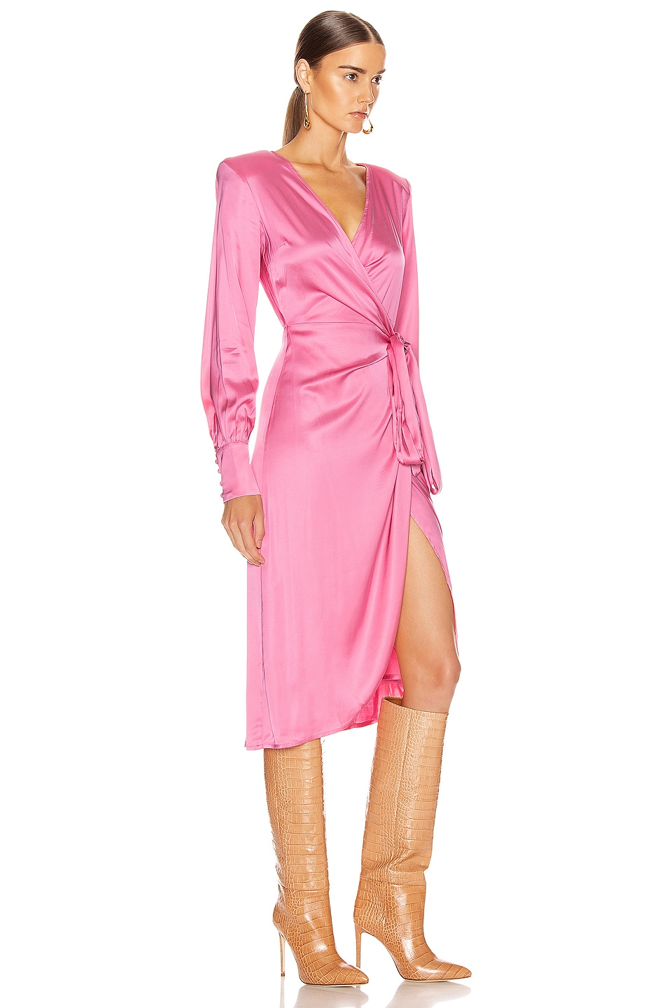 Image 2 of ANDAMANE Carly Wrap Midi Dress in Bubble Pink