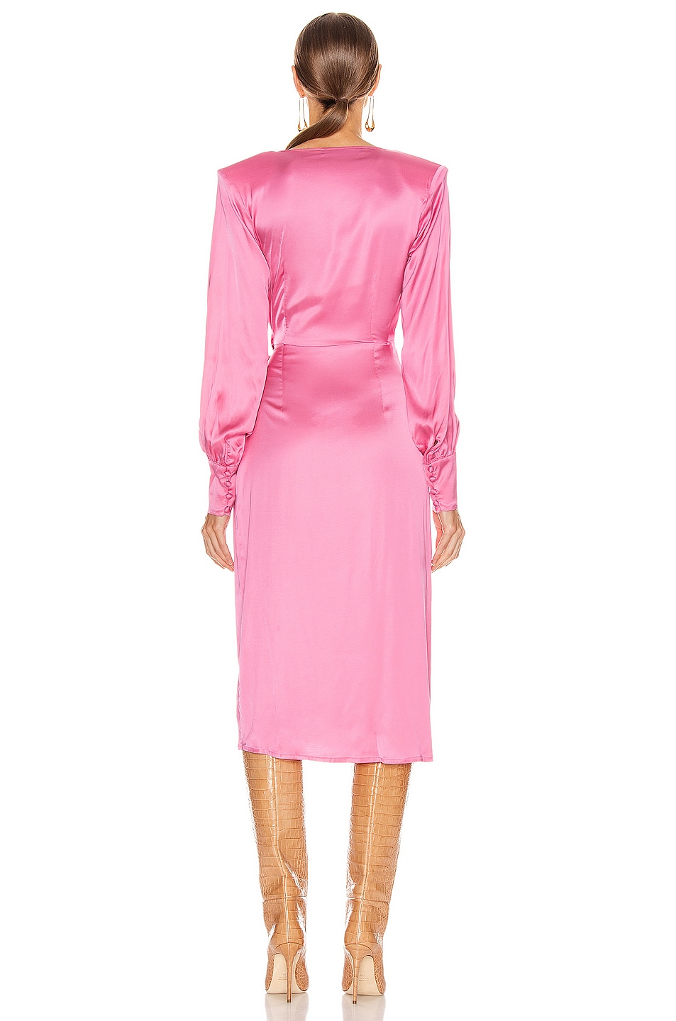 Image 4 of ANDAMANE Carly Wrap Midi Dress in Bubble Pink