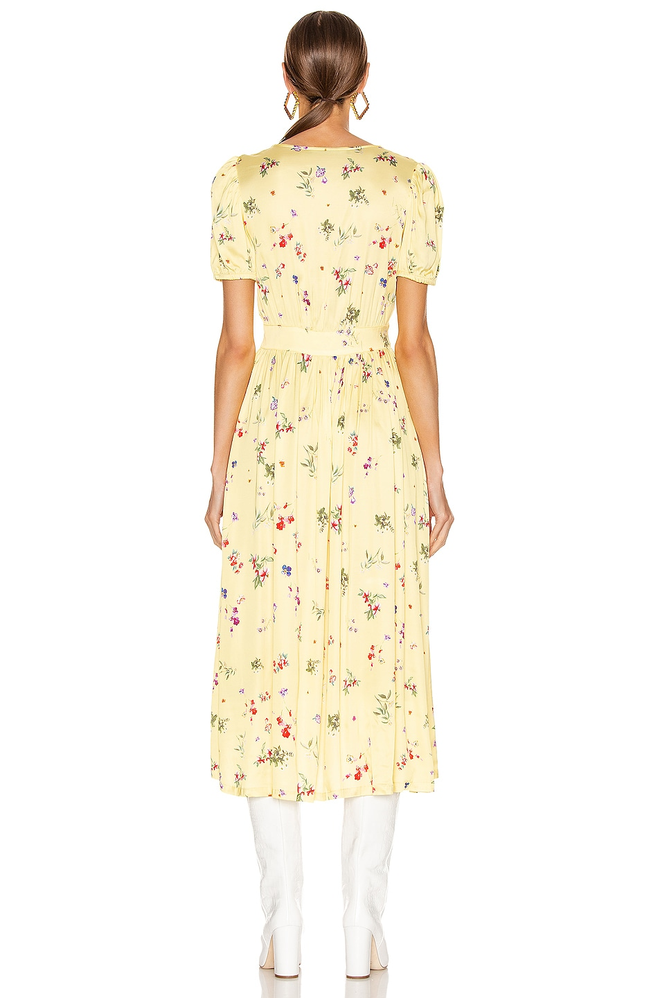 andamane cassandra midi dress in small floral yellow fwrd. Black Bedroom Furniture Sets. Home Design Ideas