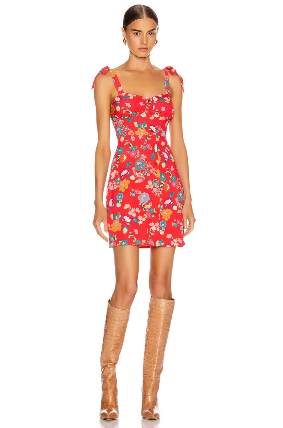 Image 1 of ANDAMANE Donna Mini Dress in Floral Red