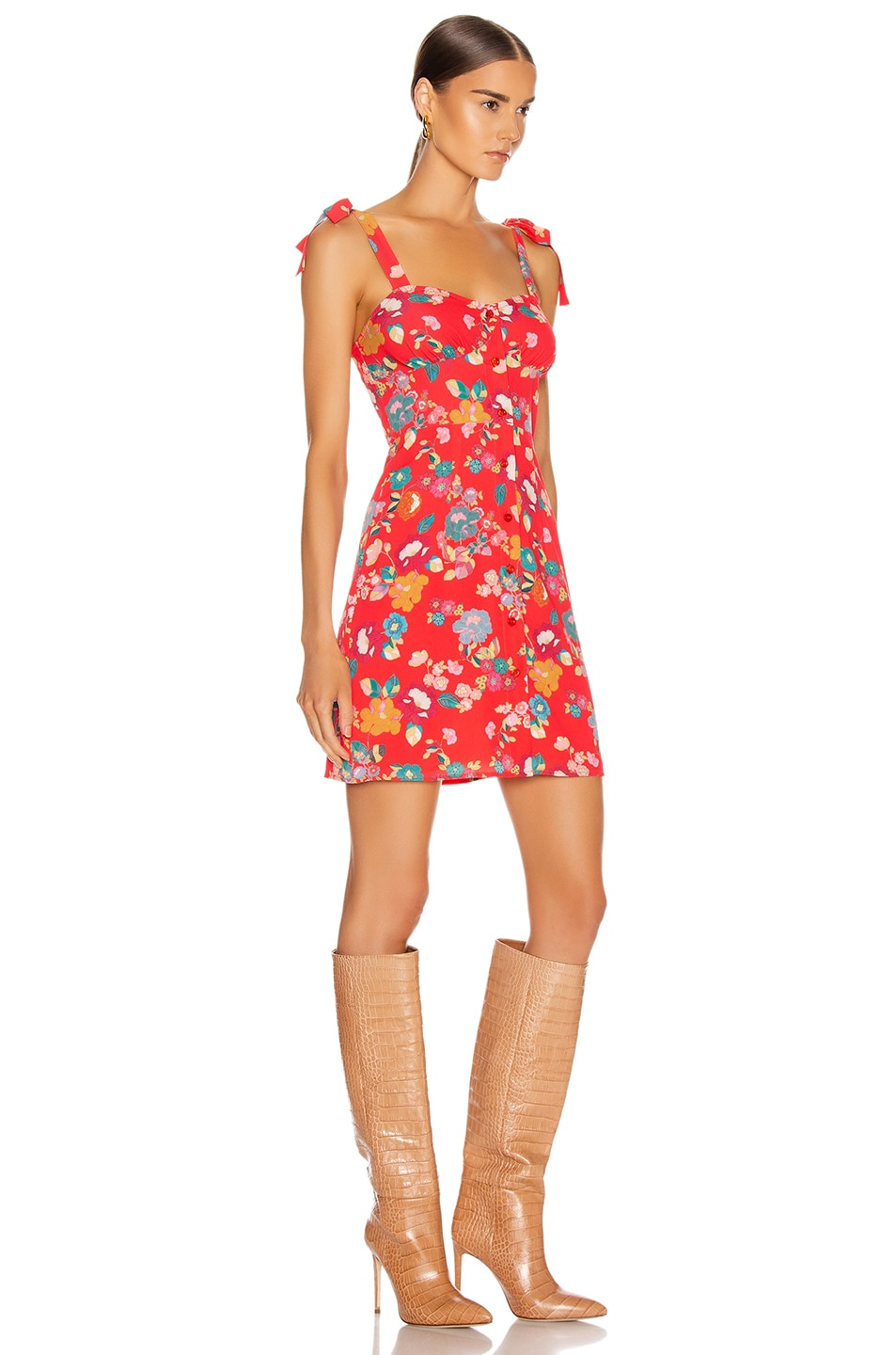 Image 2 of ANDAMANE Donna Mini Dress in Floral Red