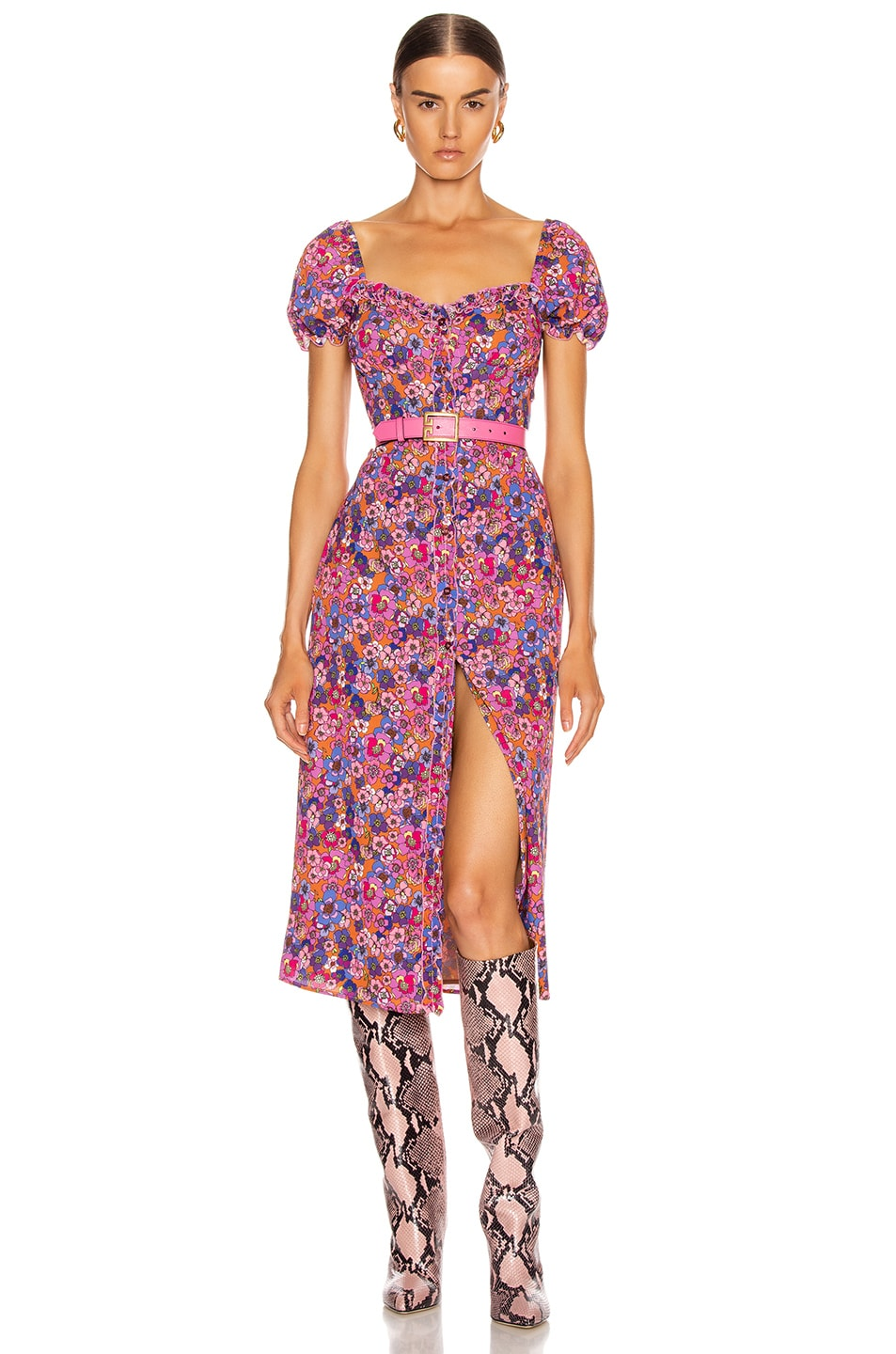 Image 1 of ANDAMANE Daisy Midi Dress in Floral Rust