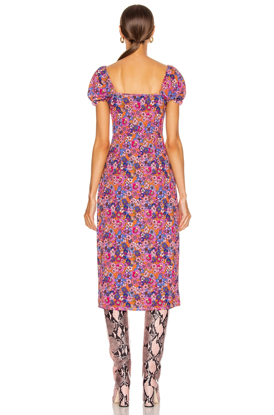 Image 3 of ANDAMANE Daisy Midi Dress in Floral Rust