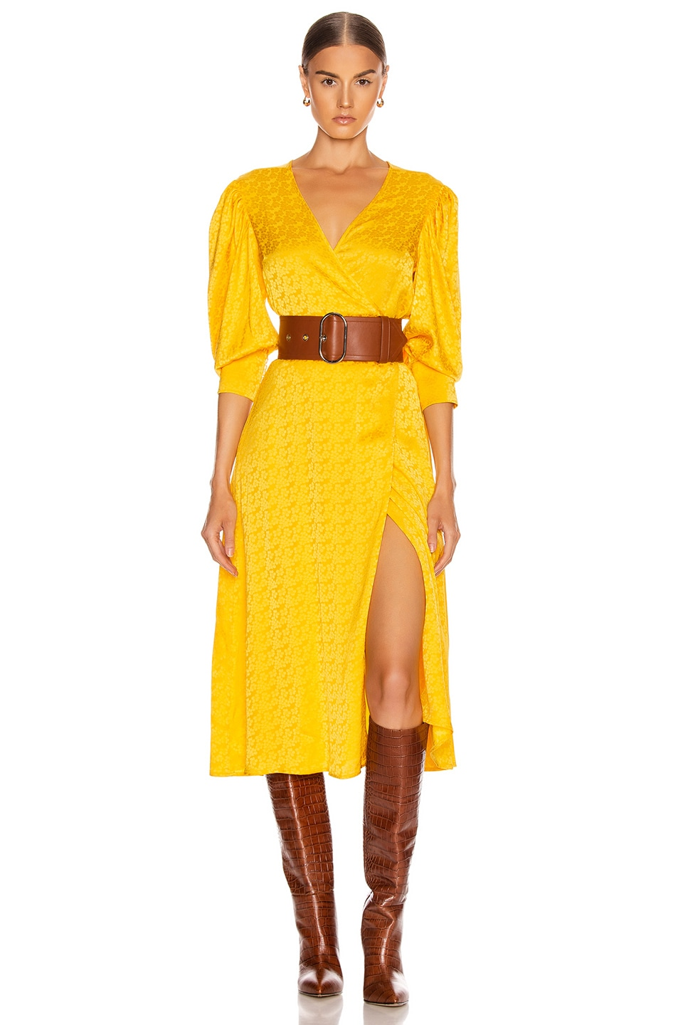 Image 1 of ANDAMANE Deva Midi Dress in Floral Yellow