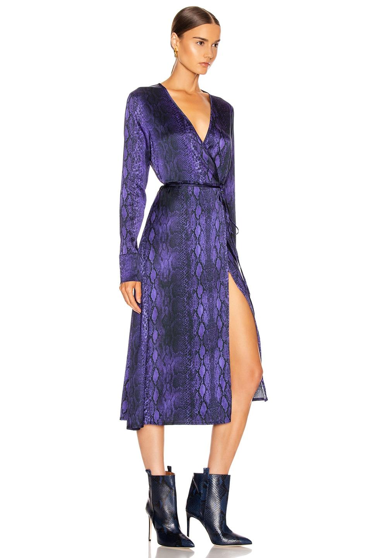 Image 2 of ANDAMANE Beverly Wrap Dress in Purple Python
