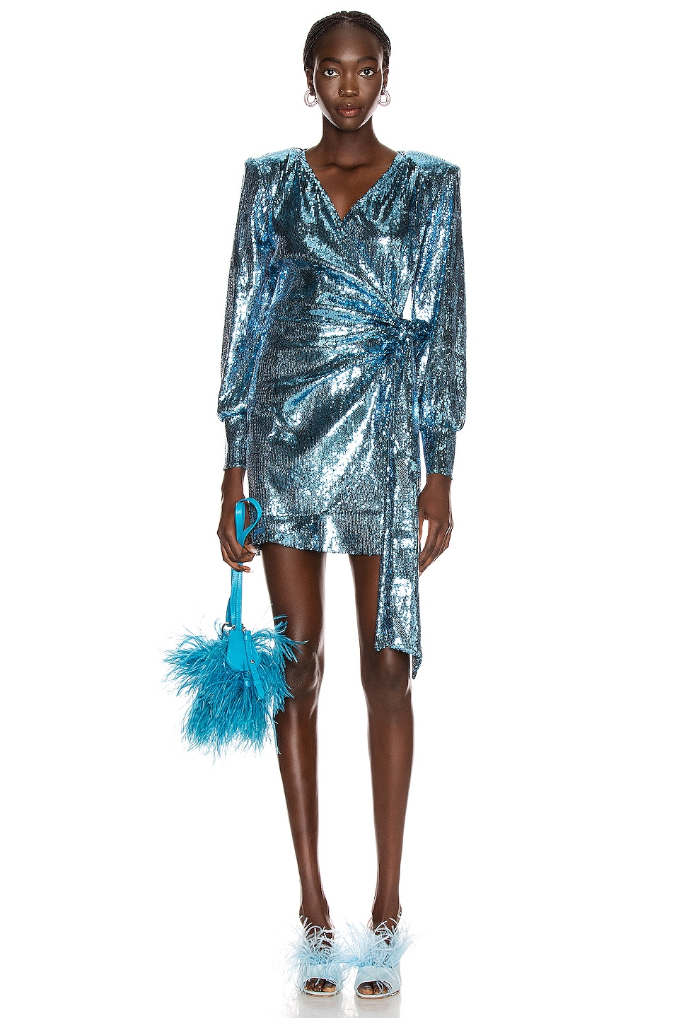 Image 1 of ANDAMANE Carly Sequins Wrap Mini Dress in Blue Jeans