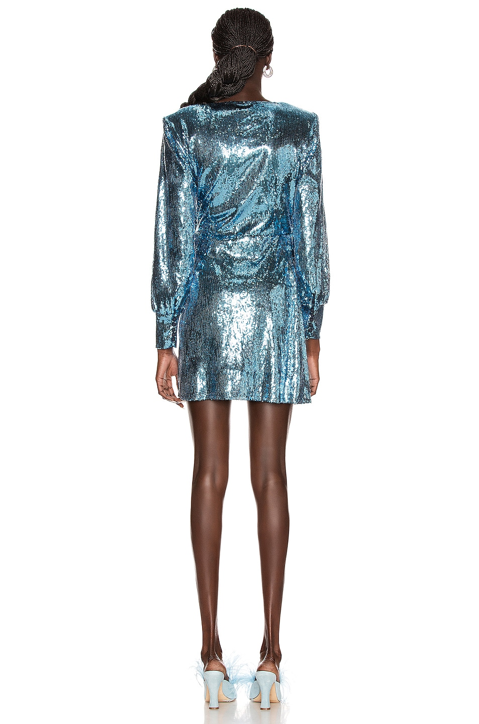 Image 4 of ANDAMANE Carly Sequins Wrap Mini Dress in Blue Jeans