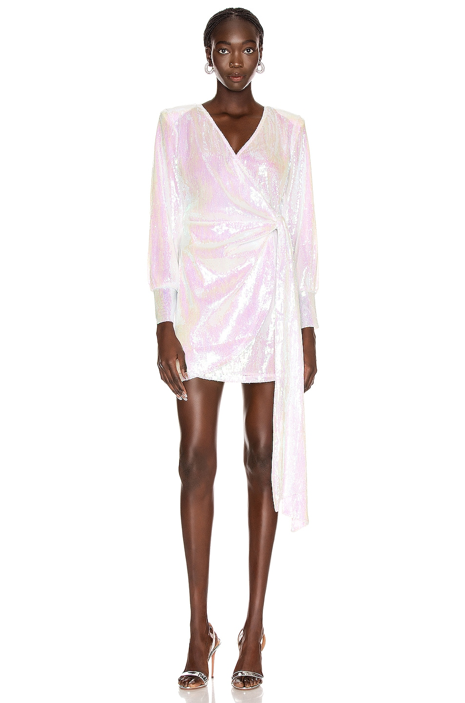 Image 1 of ANDAMANE Carly Sequins Wrap Mini Dress in Hologram