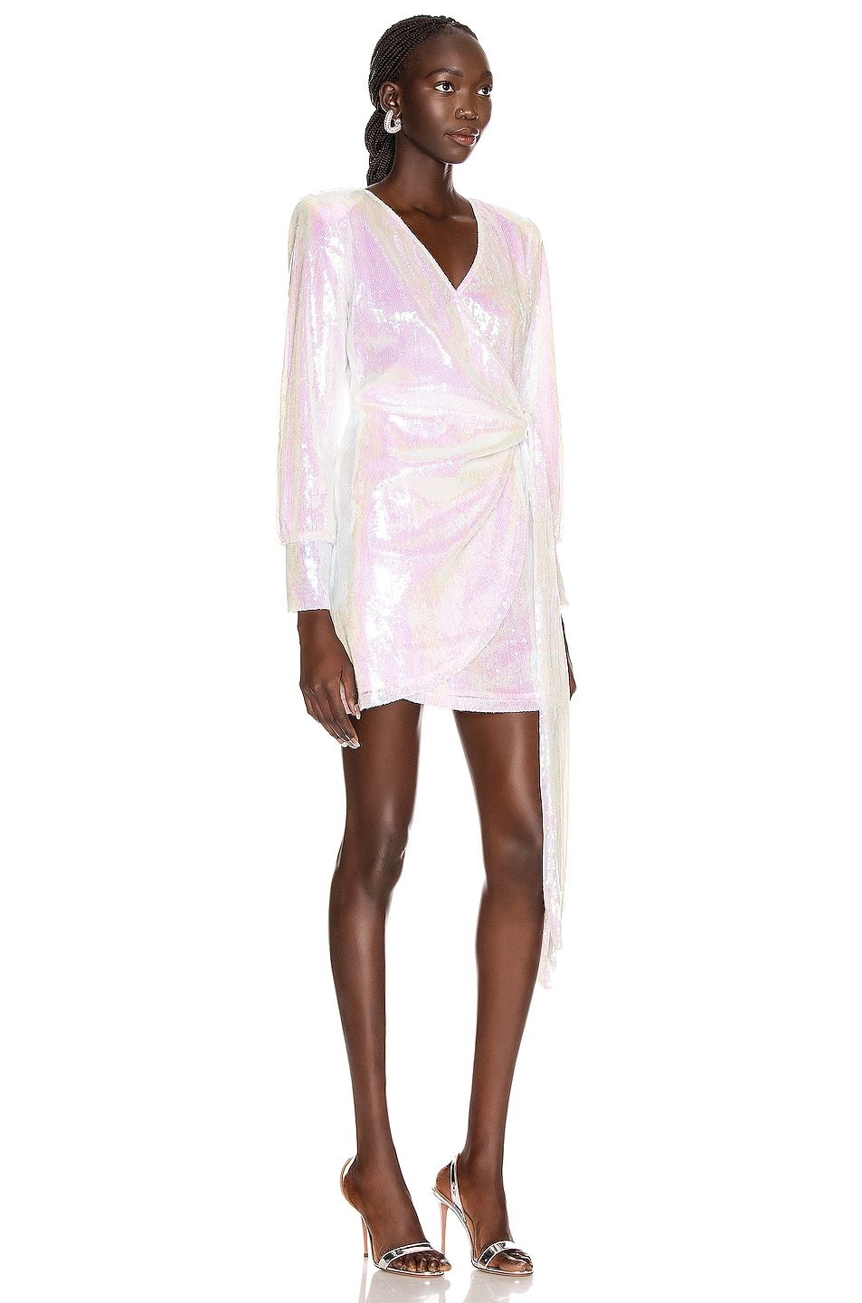 Image 2 of ANDAMANE Carly Sequins Wrap Mini Dress in Hologram