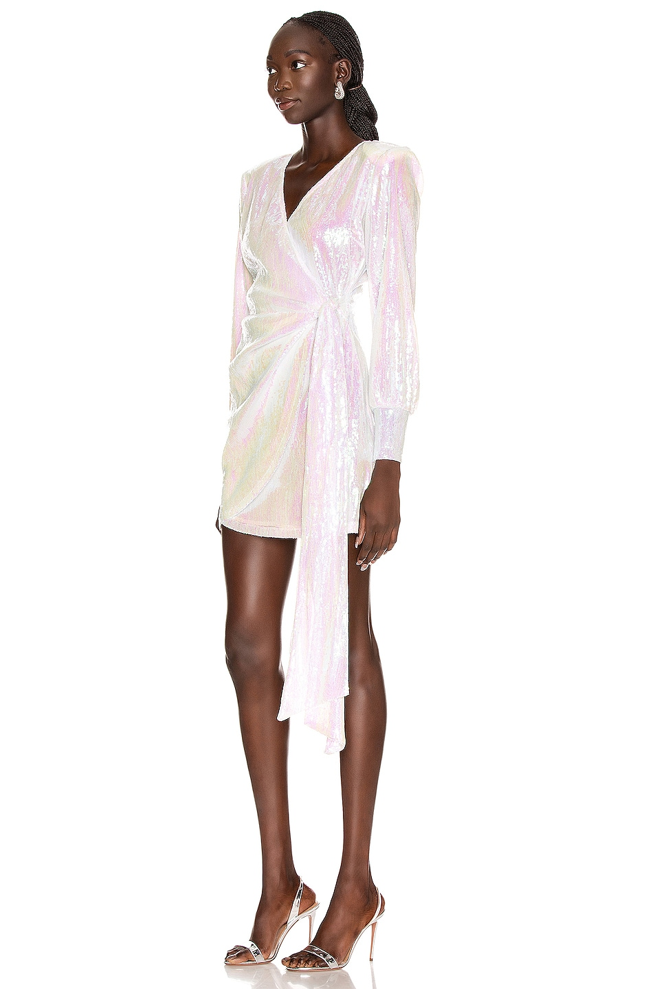 Image 3 of ANDAMANE Carly Sequins Wrap Mini Dress in Hologram