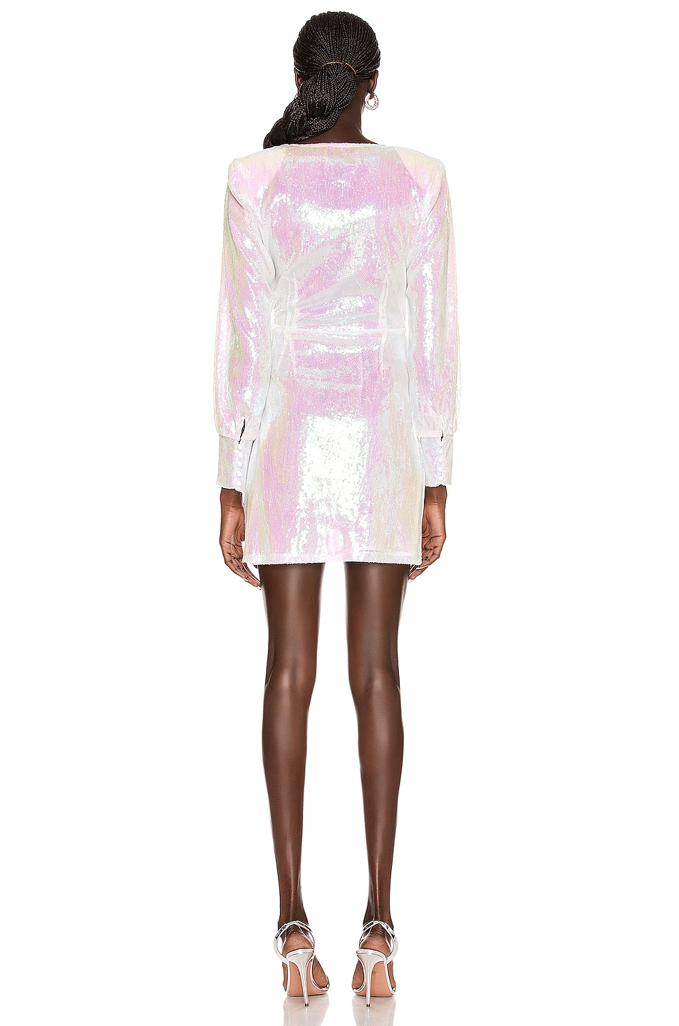 Image 4 of ANDAMANE Carly Sequins Wrap Mini Dress in Hologram